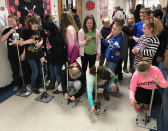 Students launching straw rockets
