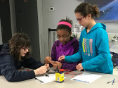 Girls working on a STEM project